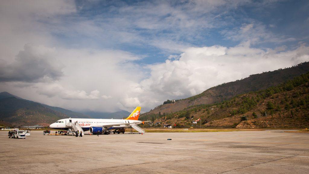 land at Paro airport